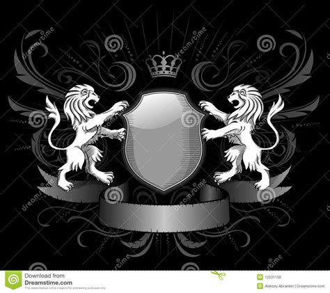 lions shield and crown insignia royalty free stock photos