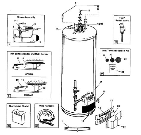 gas water heater parts diagram state water heater parts model gs640ybvit sears