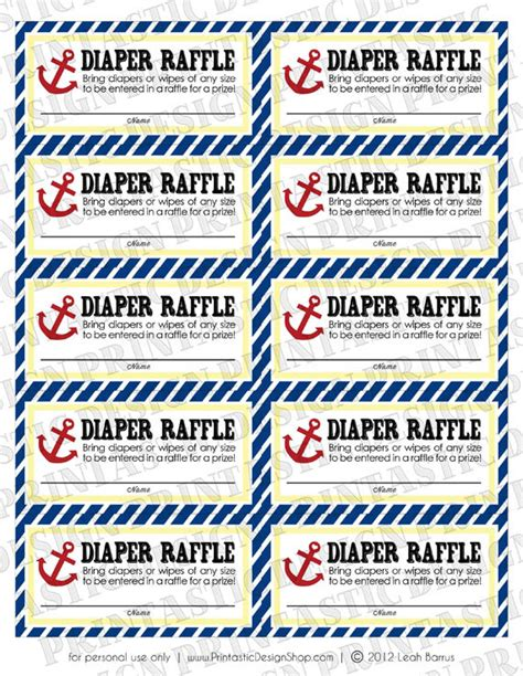 fun printable raffle tickets nautical diaper raffle ticket in red and navy blue