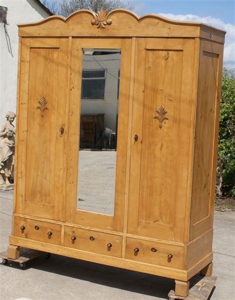 Large Pine Wardrobe by A 19th Century Large Antique Solid Pine Armoire