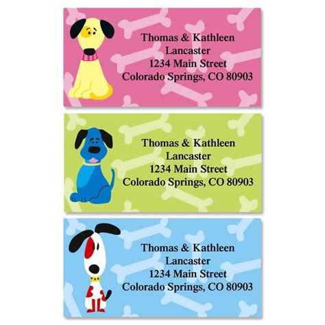 colorful images address labels colorful dogs border return address labels colorful images