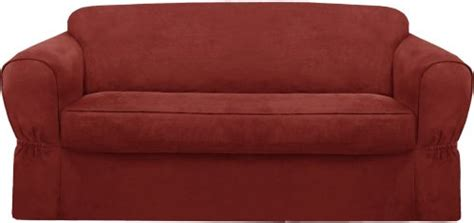 semi custom slipcovers maytex piped suede 2 piece sofa slipcover red home decor