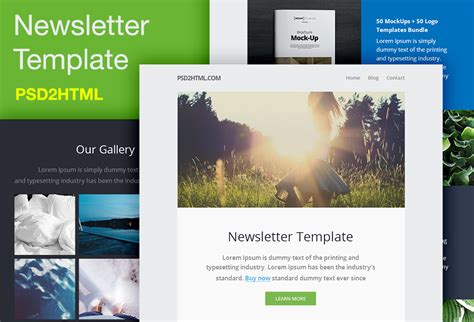 newsletter template psd html graphicsfuel