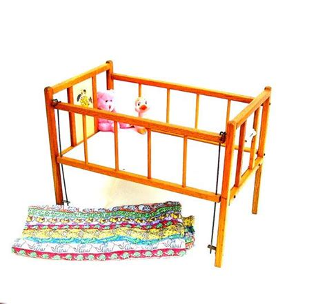 Toys For Cribs by Vintage Doll Bed Crib Oak Wood Furniture Nursery 1950s