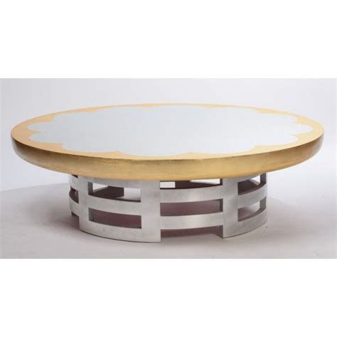 Silver Leaf Coffee Table Silver And Gold Leaf Lotus Coffee Table By Muller And Barringer At 1stdibs