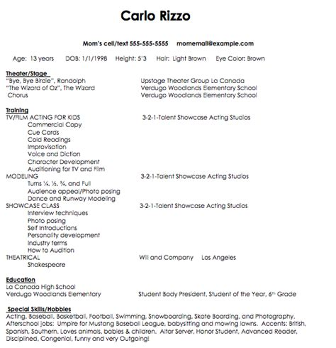 child actor resume template acting resume template for beginners search results