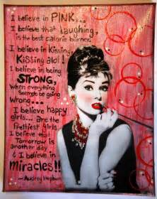 Audrey hepburn along with one of her popular quotes handmade by