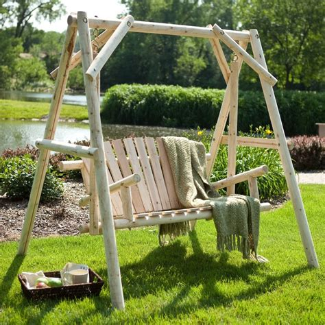 rustic garden swing wood porch swing bench deck yard outdoor garden patio