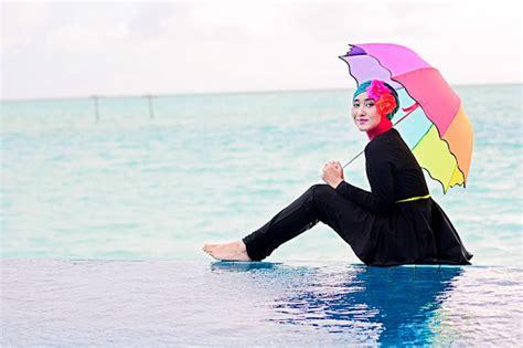 tutorial hijab turban untuk renang outfit ke pantai hijab