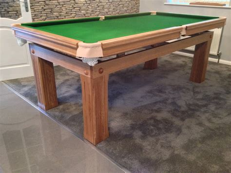 7ft snooker dining table made of oak with green cloth cover