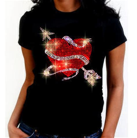 design t shirt with rhinestones heart with arrow and ribbon t shirt rhinestones