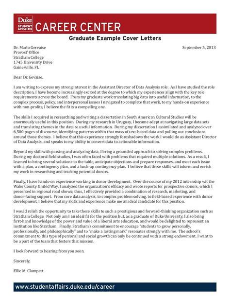 Cover Letter Duke by Duke Cover Letter Thevillas Co