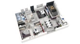plan de simple 3 chambres en 3d