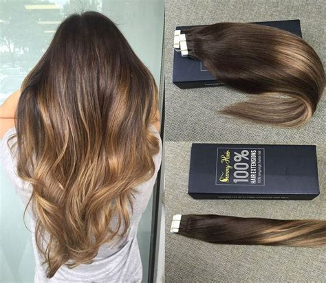 hair extension for over 65 sunny 100g 40pcs two tone hair extensions dark brown to