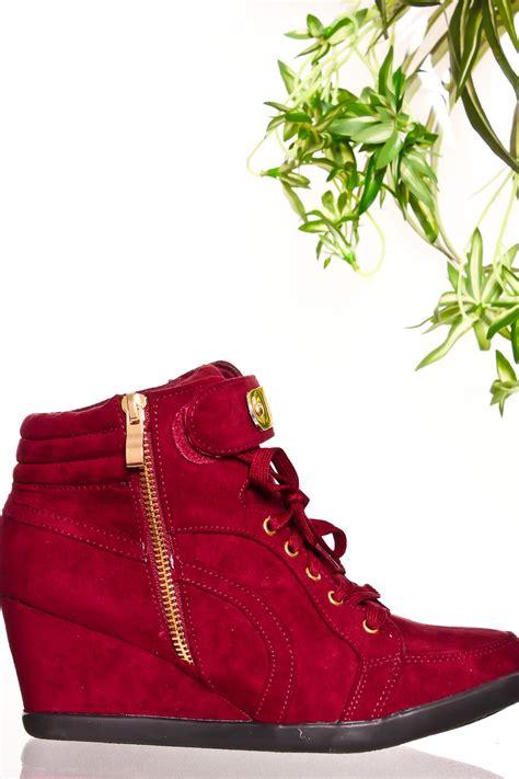 burgundy sneaker wedges burgundy metal design lace up zipper closure wedge sneaker