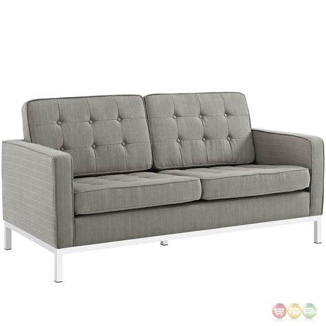 steel sofa set loft modern 3 pc button tufted upholstered sofa set w