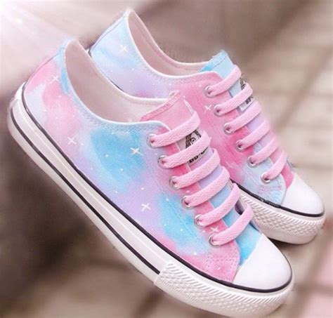 cutest sneakers shoes rainbow pastel blue pink