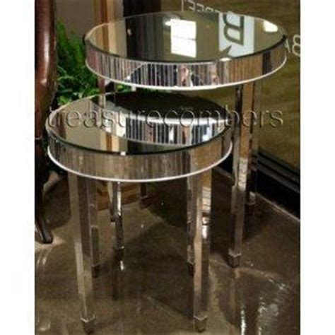 Amazon.com: Round Mirrored Side Accent End Tables   Set of