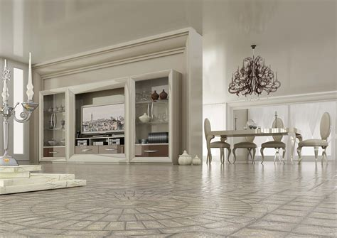 Luxury High Gloss White Entertainment Wall Unit with Glass