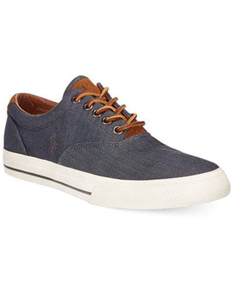 polo mens sneakers polo ralph vaughn chambray herringbone sneakers