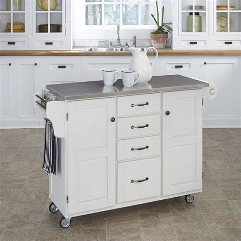 white kitchen island with stainless steel top stainless steel kitchen cart in white 9100 1022