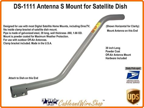 s pipe mast tv antenna dish mount 1 66 od wingard ds1111