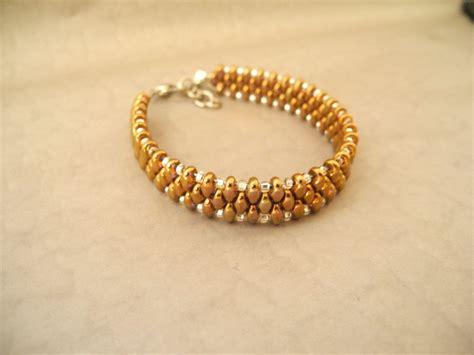 woven beaded bracelet bronze bracelet seed bead bracelet bronze woven summer