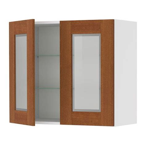 birch kitchen cabinet doors akurum wall cabinet with 2 glass doors birch effect