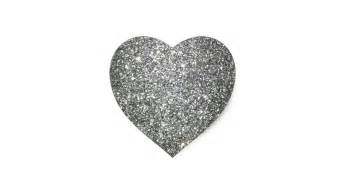 silver glitter glamour heart sticker zazzle