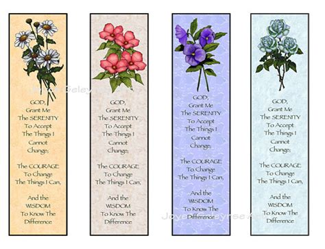 free printable bookmarks flowers instant printable bookmarks flowers serenity prayer digital