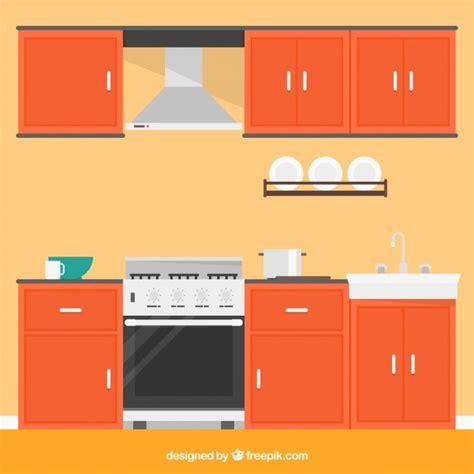 cucina con gratis cucina con mobili d arancia scaricare vettori gratis