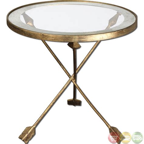 uttermost accent table gold arrow glass top accent end table 24275