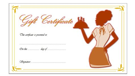 Dinner Gift Card Template by Restaurant Gift Certificate Templates The Best Template