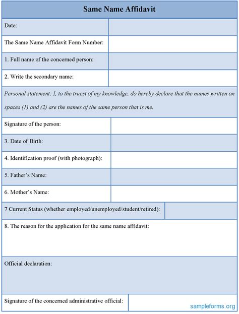 personal particulars form template sle same name affidavit form sle forms