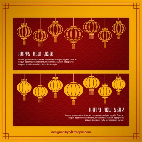 free vector new year banner new year banners with lanterns vector free