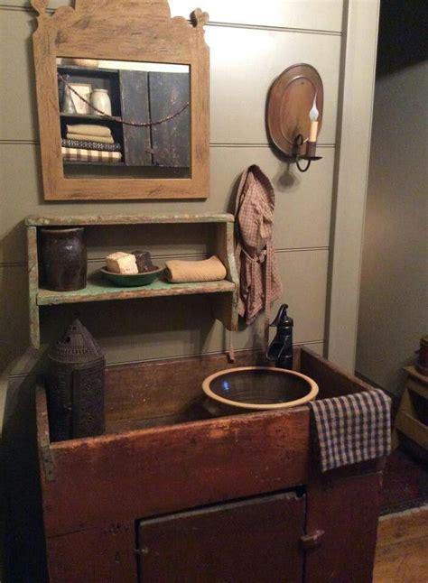 primitive bathroom mirrors early dry sink prim browns pinterest
