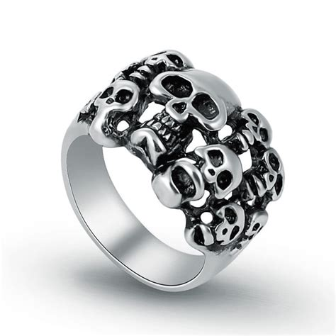 wholesale lots 5 pcs stainless steel mens multi skull