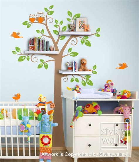 tree wall sticker with shelves shelves tree decal children wall decal shelf tree by