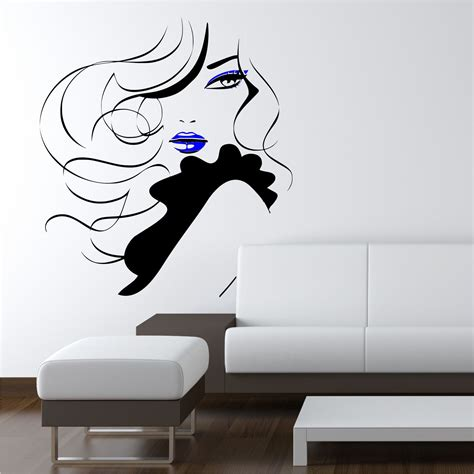 wall stickers and murals pin up modern hair salon wall sticker decal mural transfer stencil ebay