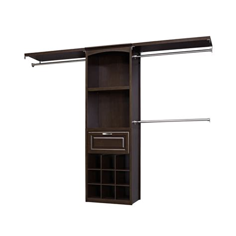 closet shelves lowes shop allen roth 8 ft java wood closet kit at lowes