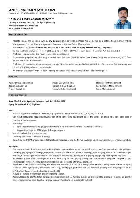 Piping Stress Engineer Sle Resume by Senthil Nathan Senior Piping Stress Engineer