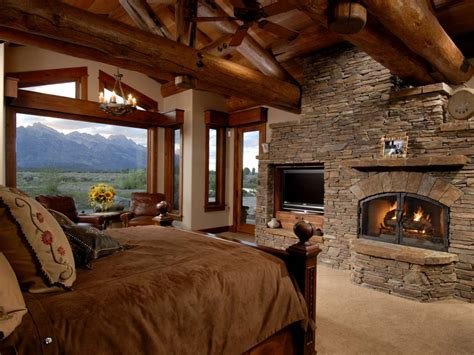 cabin bedrooms log cabin master bedroom fireplace so relaxing dream