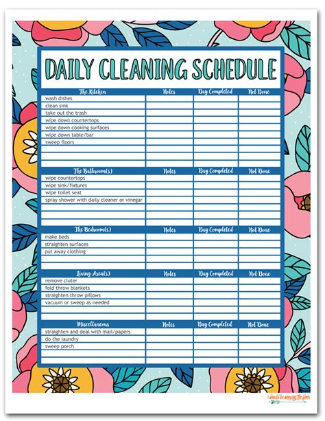 printable daily cleaning schedule i should be mopping the floor free printable house