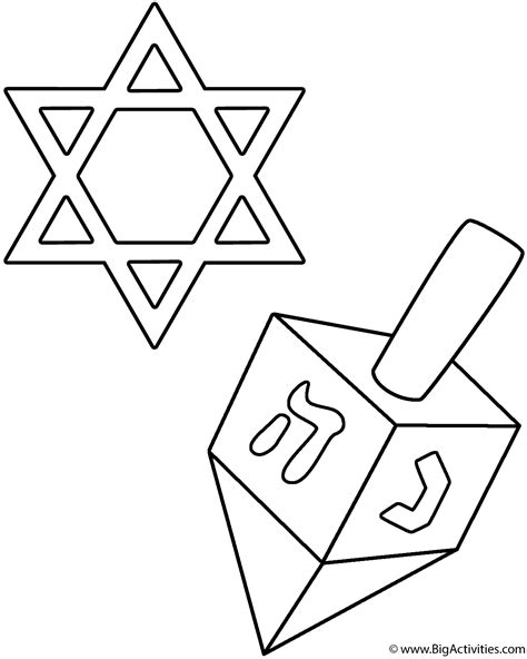 coloring page of star of david dreidel and star of david coloring page hanukkah