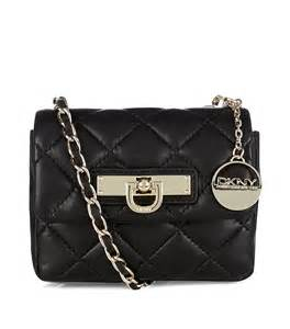 dkny quilted nappa mini crossbody bag in black gold lyst