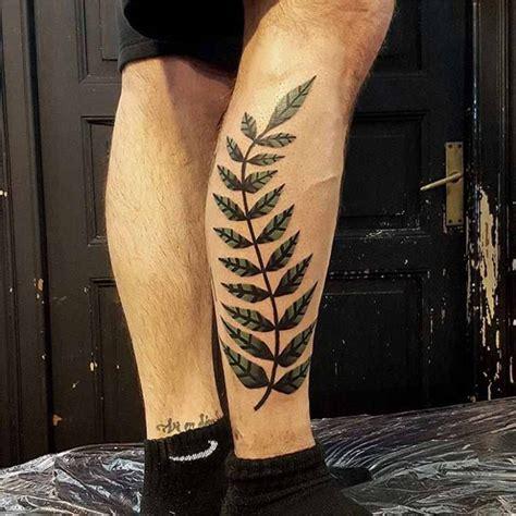 minimalist tattoo calf minimalistic fern tattoo on leg best tattoo ideas gallery