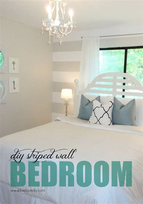 Diy Bedroom Ideas by Livelovediy Diy Striped Wall Guest Bedroom Makeover