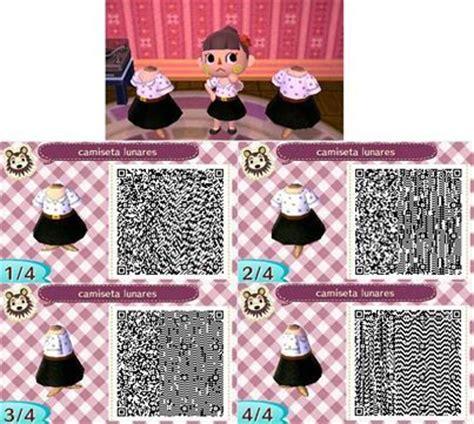 design clothes new leaf white shirt with black polka dots black skirt qr codes