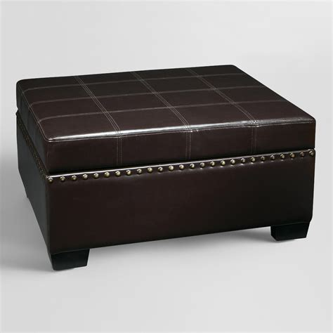 Espresso Bi Cast Leather Bowen Storage Ottoman World Market Leather Storage Ottoman