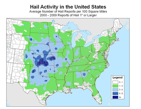 united states map with numbers united states 10 year hail activity average number of